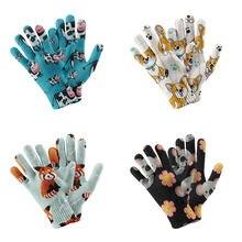 Женские вязаные перчатки с 3d принтом животных модные повседневные