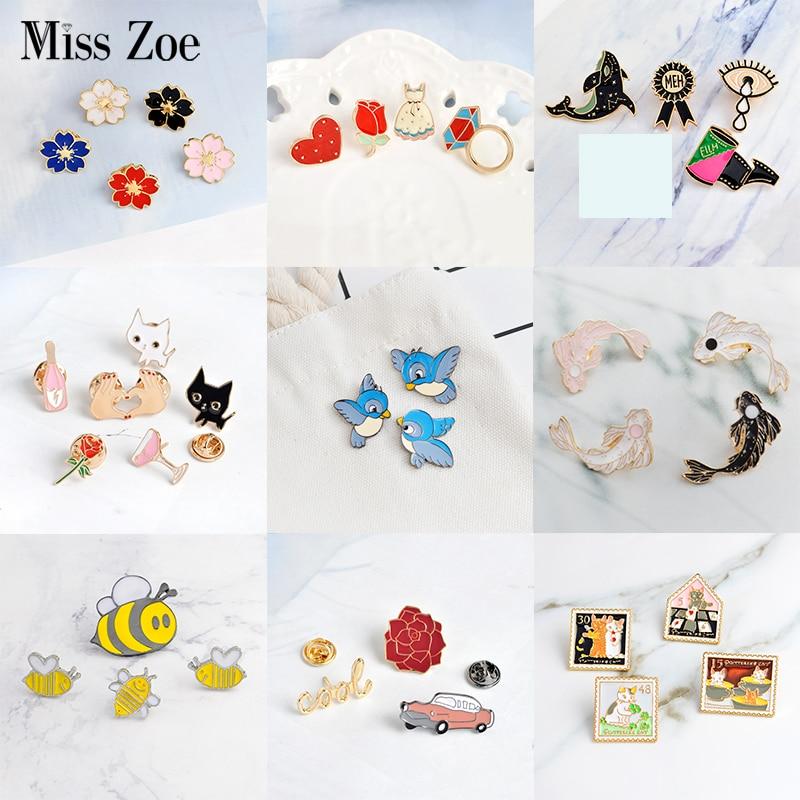 3~6pcs/set Cat rose bird koi sakura cool car Brooch Button Pins Denim lapel pin badge Fashion cartoon jewelry Gift for Kids girl 1