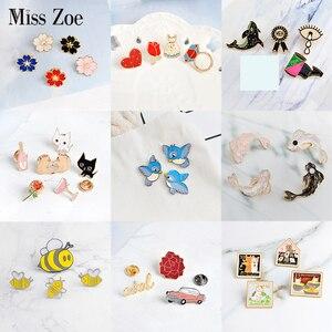 3~6pcs/set Cat rose bird koi sakura cool car Brooch Button Pins Denim lapel pin badge Fashion cartoon jewelry Gift for Kids girl