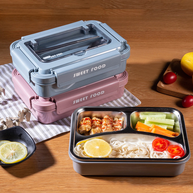 Portable Stainless Steel 304 Lunch Box With Spoon Fashion Lunch Bento Box Dinnerware Set Microwave Adult Student Food Container