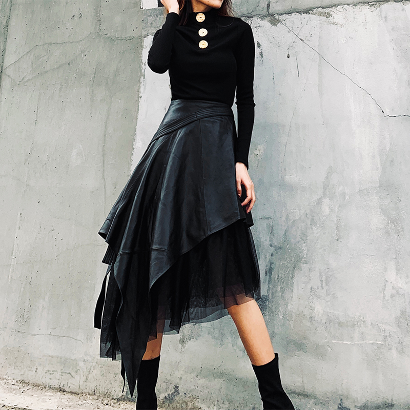 LANMREM 2020 Spring New PU Leather Skirt In The Long Section Of High Waist A-line Long Irregular Mesh Skirt 19B-a444