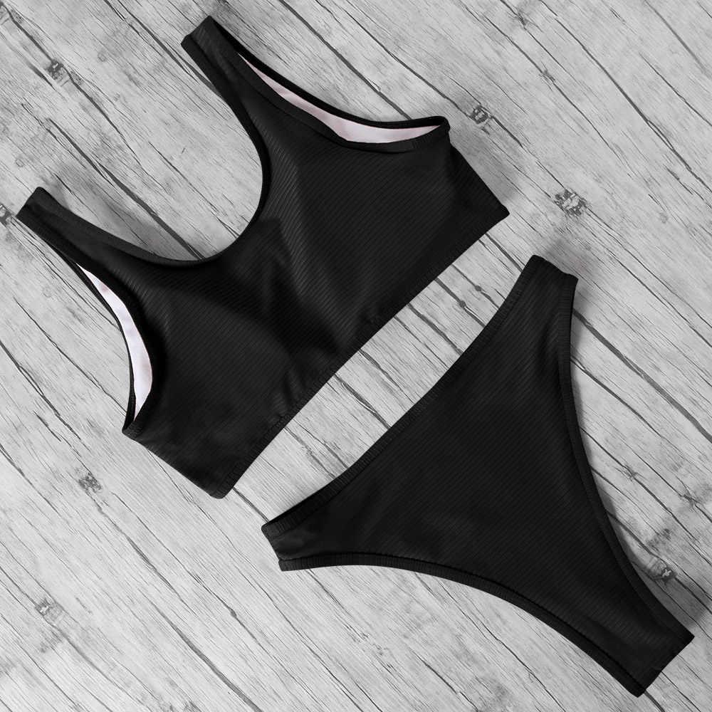 Bikini 2020 Hoge Taille Badpak Strand Dragen Effen Kleur Badpak Vrouwelijke Zomer Zip Vest Zwemmen Pak Badmode Vrouwen
