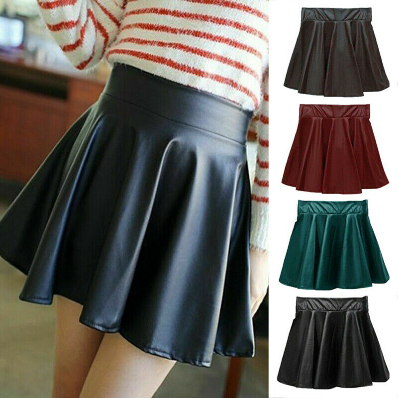 Women`s Sexy PU Leather High Waist Pleated Skirt Fashion Ladies Flared Pleated Mini Dresses Short Skirts