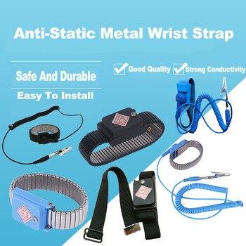 Black Metal Anti Static Wrist Band Strap Wireless Adjustable ESD Wristband Discharge Electronic Work