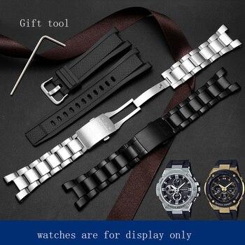 Yopo Stainless steel strap black silver bracelet Special interface for G SHOCK GST-W300/400G/B100/W120L Silicoen watch chain casio g shock g steel gst w300 1a