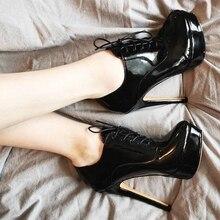 Женские ботильоны на платформе Onlymaker, черные и красные пикантные ботинки на высоком каблуке шпильке со шнуровкой, большие размеры US5 ~ US15