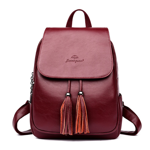 המוצ ילה Mujer אמיתי עור ציצית תרמיל Bagpack כתף שקיות נשים 2019 תרמיל לנערות בחזרה חבילה שק