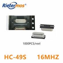 1000 pces HC-49S 16.000 mhz 16.000 m 16 m 16 mhz 16 mhz oscilador de cristal 49 s feito em china
