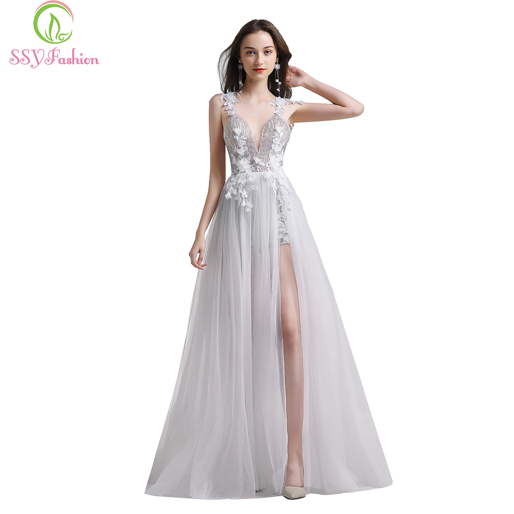 SSYFashion New White Lace Evening Dress Sexy V-neck Backless Beach Dress Vestidos De Fiesta Banquet Flower Party Formal Gowns