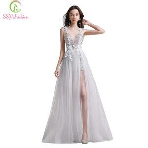 Image 1 - SSYFashion לבן תחרה שמלת ערב סקסי צווארון V ללא משענת חוף שמלת Vestido דה פיאסטה משתה פרח המפלגה במלאי