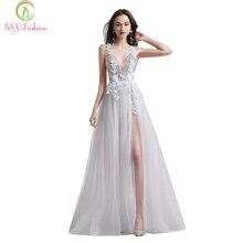 SSYFashion biała koronkowa suknia wieczorowa seksowna dekolt bez pleców sukienka plażowa Vestido De Fiesta bankietowa na imprezę z kwiatami suknia wieczorowa w magazynie