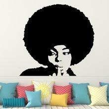 Vinyl wall sticker for Beauty Salon Woman Face Hairdressing decor Decals African style Wall Decal Window Sticker decor HQ118 beauty salon wall decal curly hair woman face vinyl wall sticker beauty salon window decor jh41