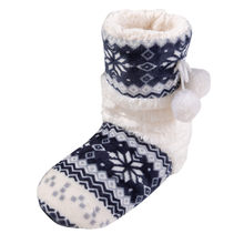 Basic Christmas Warm Plush Boots Women's Winter shoes Flat Cotton Floral ball long tube Shoes Boot Home Ladies Boots botas mujer(China)