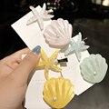 Для женщин девочек элегантный кристалл жемчужные заколки для волос в виде морской звезды волос ручки в виде ракушки заколки палка повязка н...