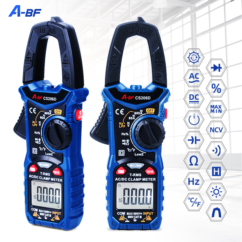 A-BF CS206B/CS206D Цифровые токоизмерительные Клещи Авто Диапазон мультиметр переменного тока напряжение, температура конденсатор с алюминиевой к...