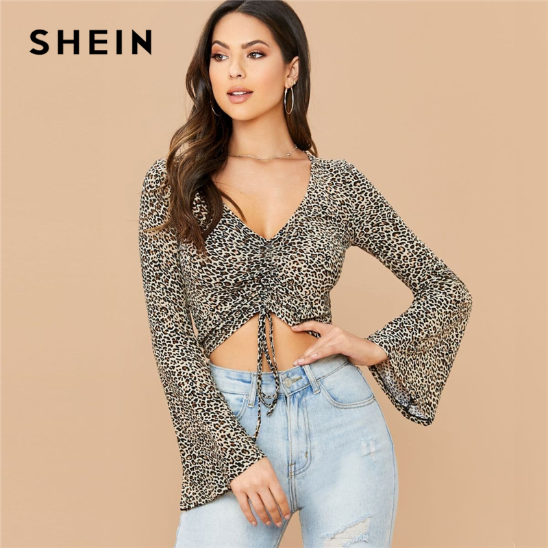 SHEIN Leopard Print V Neck Ruched Drawstring Hem Sexy Tee Women Tops Spring Flounce Sleeve Ladies Form Fitted Glamorous T-shirts