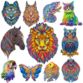 DIY Wooden Jigsaw Puzzle Wooden Puzzle Animal Educational Puzzle Toy For Adults Kids Room Decoration Stickers