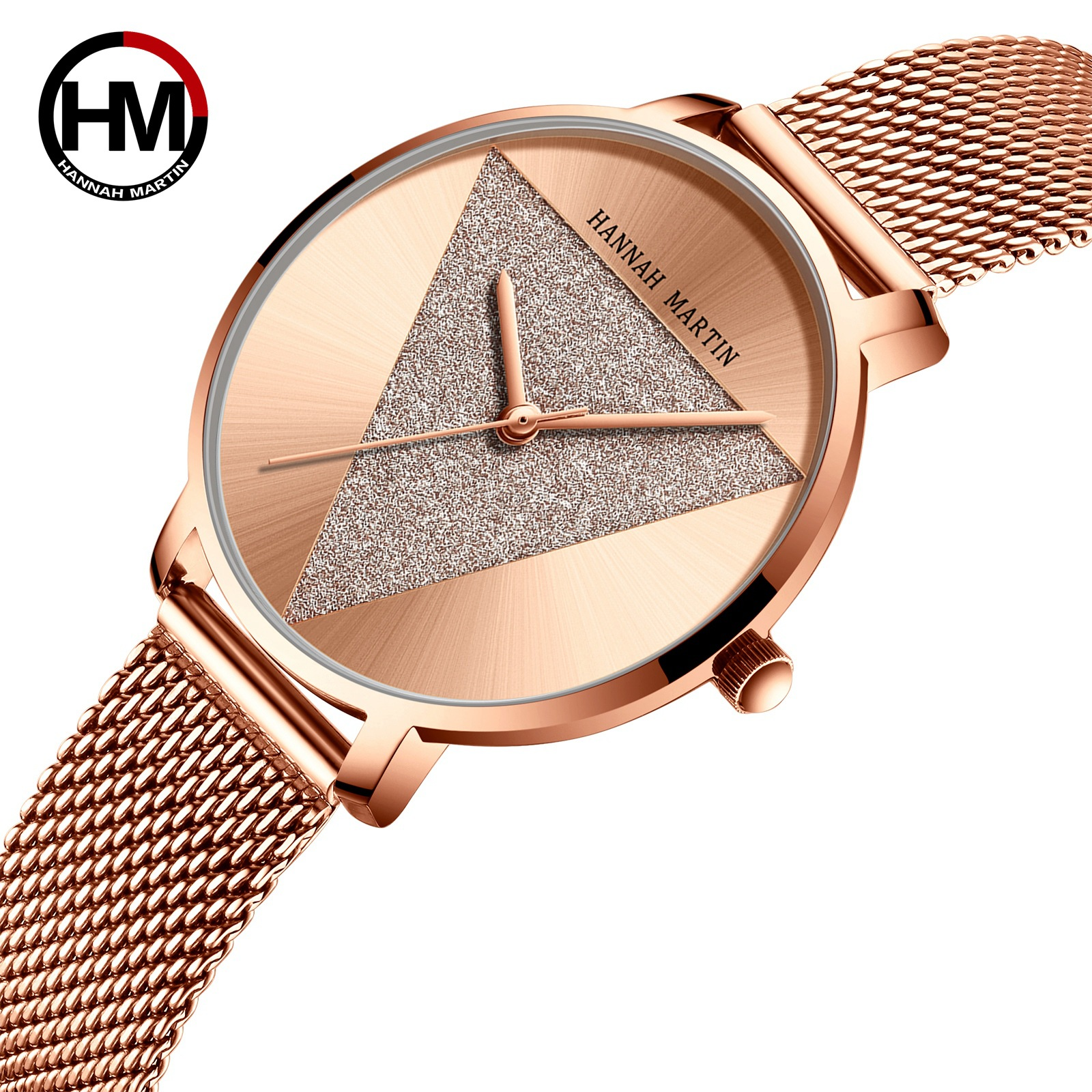 Hannah Martin Luxury Crystal Watch Women Waterproof Rose Gold Steel Strap Ladies Wrist Watches  Unique Watch  Gifts