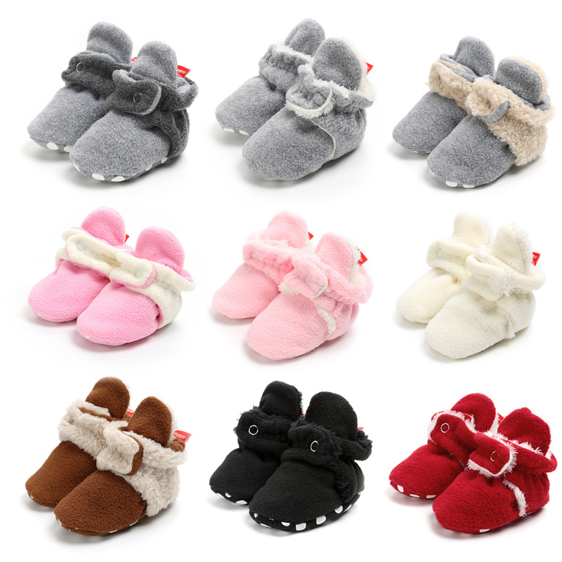 Newborn Baby Socks Shoes Fluff Winter Warm Boy Girl Patch Toddler First Walkers Cotton Comfort Soft Anti-slip Infant Crib Shoes