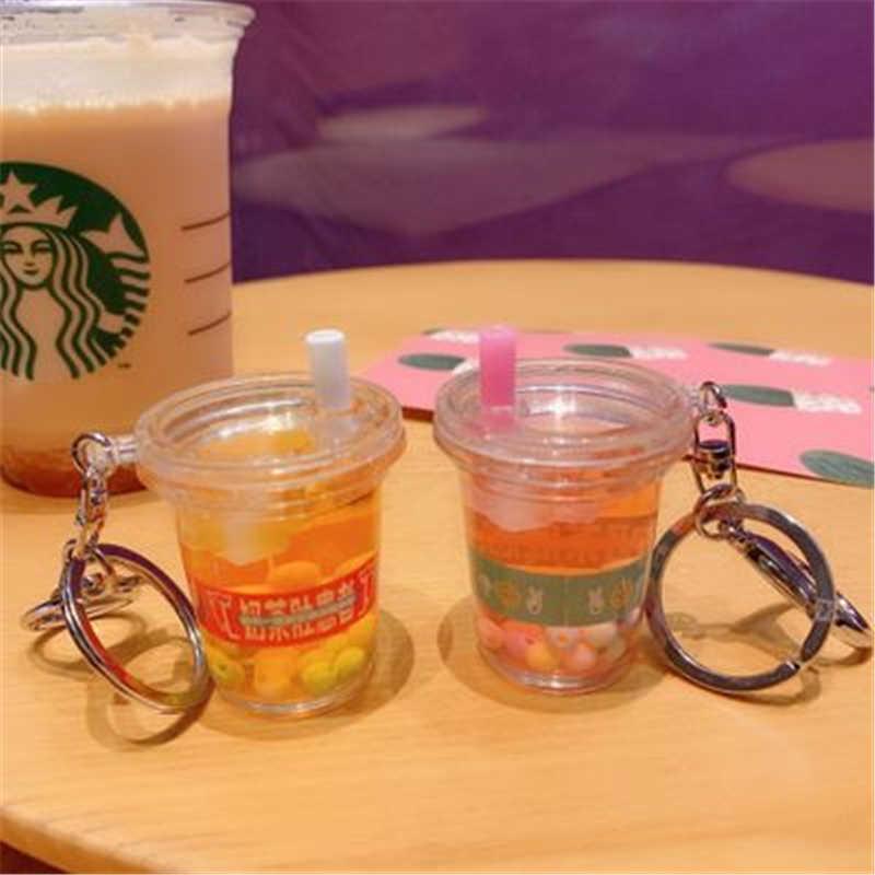 Creativo Mini llavero de bebida suave té de leche de coco bebida de burbujas de té acrílico movimiento gota de aceite líquido descompresión joyería regalo