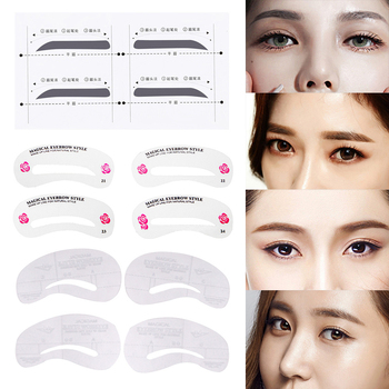 1Set Pro Reusable Eyebrow Stencil Eye Brow DIY Drawing Guide Styling Shaping Grooming Template Card Easy Makeup Beauty Kit