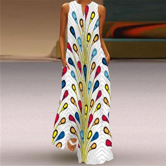 WAYOFLOVE Tiger Printed Dress 2021 Vintage V Neck Casual Breathable Long Dresses Summer Woman Sleeveless Beach Maxi Dress Women 4