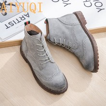 women shoes 2020 spring genuine leather Female Martin boots suede women booties British lace retro trend women naked boots(China)