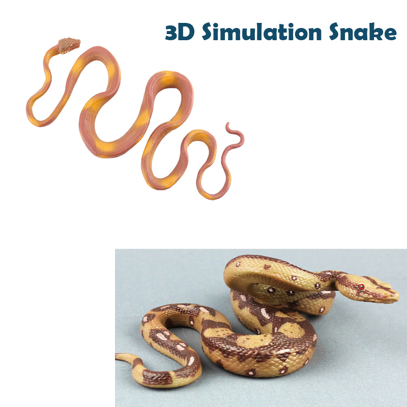 New 3D Silicone Python Model Jungle Fake Snake Toy Action Figures Model Trick Toy