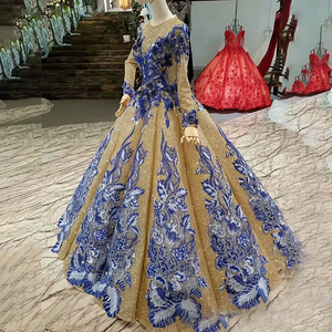 Image 3 - LS741100 shiny muslim women occasion dresses 2018 long sleeve o neck blue flowers golden ball gown evening dress fast shiping