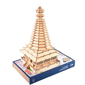 Candice guo! educational wooden toy 3D puzzle DIY woodcraft assembly kit Sanjiang Drum Tower buiding birthday Christmas gift 1pc фото