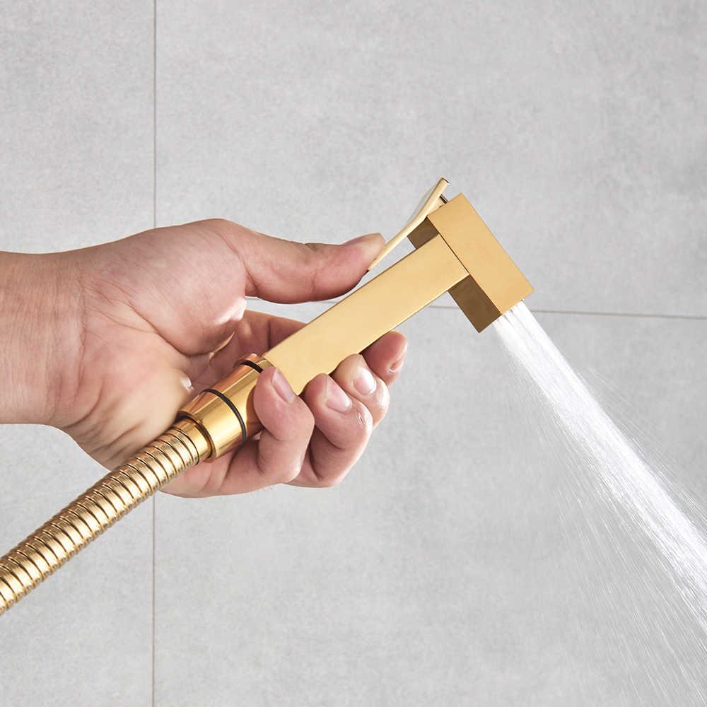 Tuvalet el bide musluk altın banyo bide duş püskürtücü pirinç duvara monte sıcak soğuk mikser bide musluk paslanmaz çelik hortum