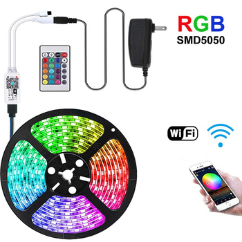 RGB LED Strip SMD 5050 1M - 5M 10M 15M 20M Set DC 12V Flexible Tape Diode RGB Led Strip Light+Power IR APP Control Wireless 1m smd 5050 rgb 60 led strip light dc 12v for christmas holiday