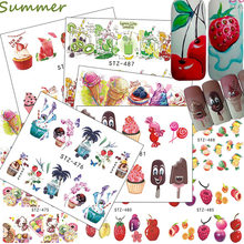 18pcs Fruit Nail Stickers Water Decals Nail Art Slider DIY Manicure Accessories Bottom Mixed Shape DIY Nail Art(China)