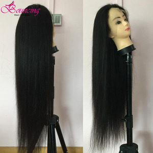 Saltando em linha reta 13x4 frente do laço perucas de cabelo humano brasileiro remy 150% 250% densidade 30 32 34 36 38 40 Polegada perucas dianteiras do laço