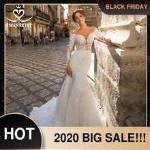 Querida sereia vestido de casamento do vintage manga longa ilusão tribunal trem swanskirt gi27 vestido de noiva princesa novia