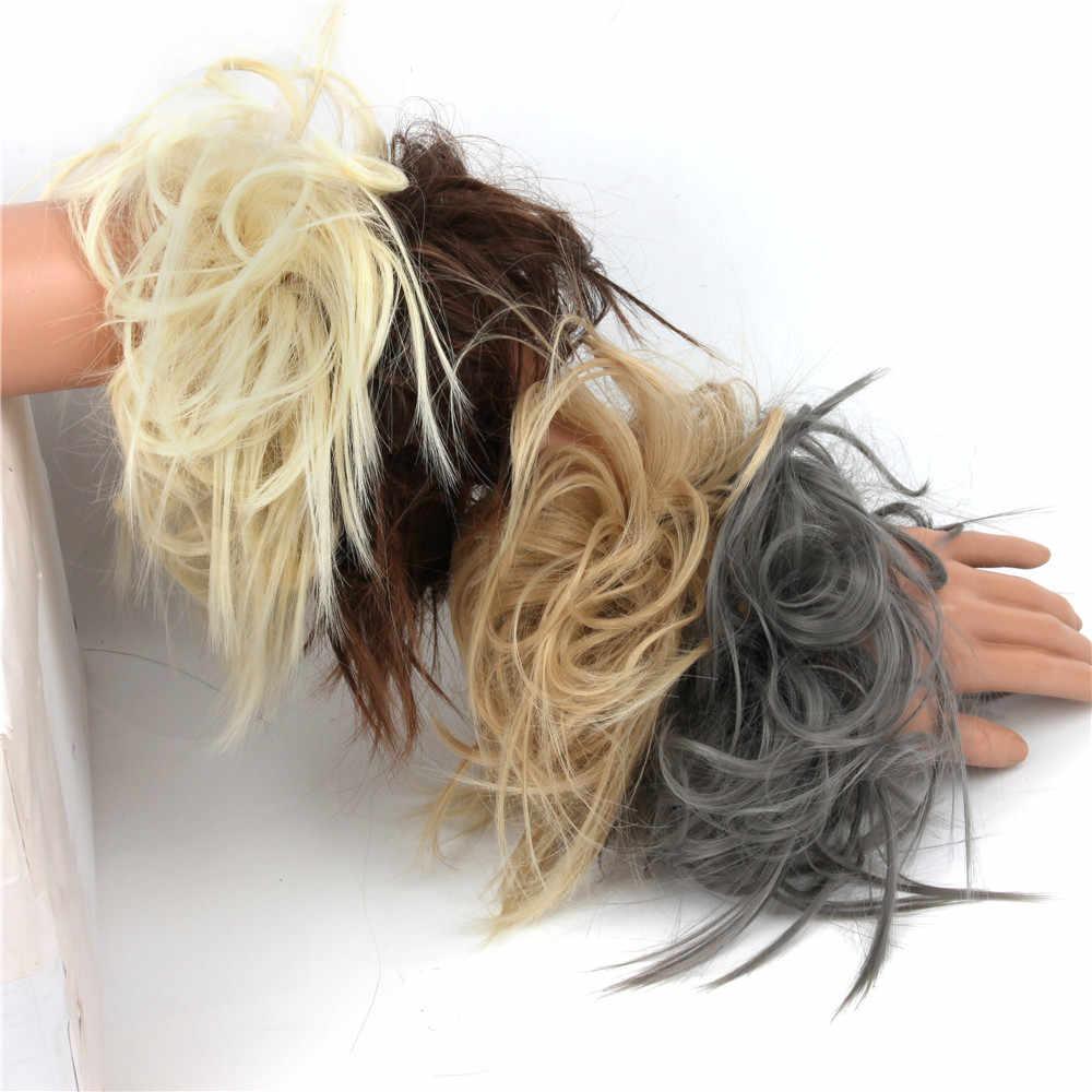 Messy 7 นิ้ว Bun Scrunchie Updo Hairpiece สูงอุณหภูมิธรรมชาติ Chignon Bun สำหรับผู้หญิงสังเคราะห์ Chignon