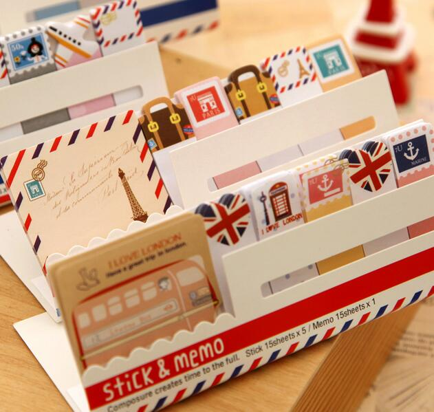 1pcs Vintage Travel London & Paris & Animals Sticky Notepad Memo  Message Removable Adhesive Paper Papelaria