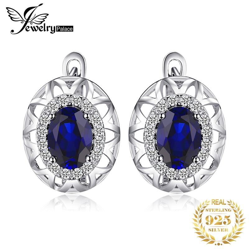 JewelryPalace 2ct Created Blue Sapphire Hoop Earrings 925 Sterling Silver Earrings For Women Korean Earings Fashion Jewelry 2019