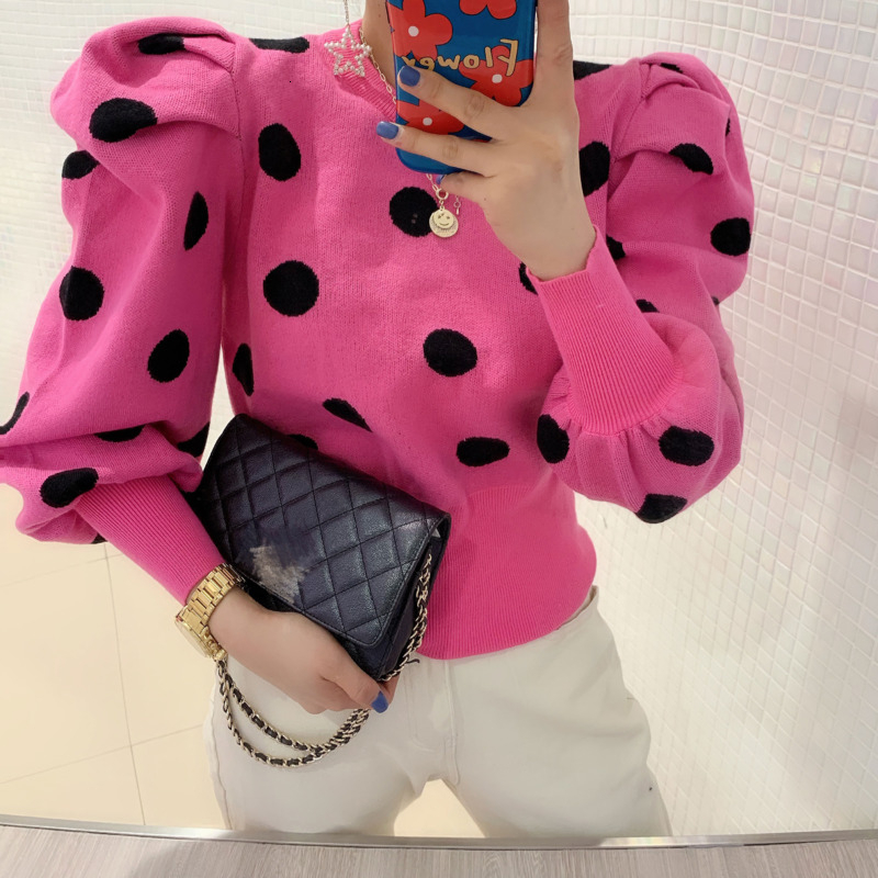 2020 Spring Pullover Women Vintage Dot Puff Sleeve Crop Tops Shrugs Knitting Sweater Western Style Elegant Tops