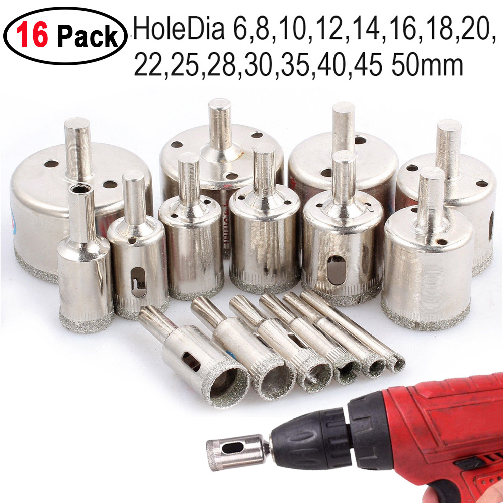 16pcs Tool  Diamond Cutter Hole Saw Drill Bit For Tile Ceramic Glass Marble Slate Porcelain 6mm 10mm 28mm 50mm Drill Bit Set D30