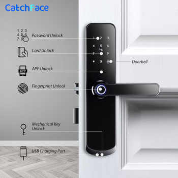 Tuya app Fingerprint Door Lock Wifi Code Card Key Touch Screen Smart Door Lock Security Digital Electronic Lock For Home