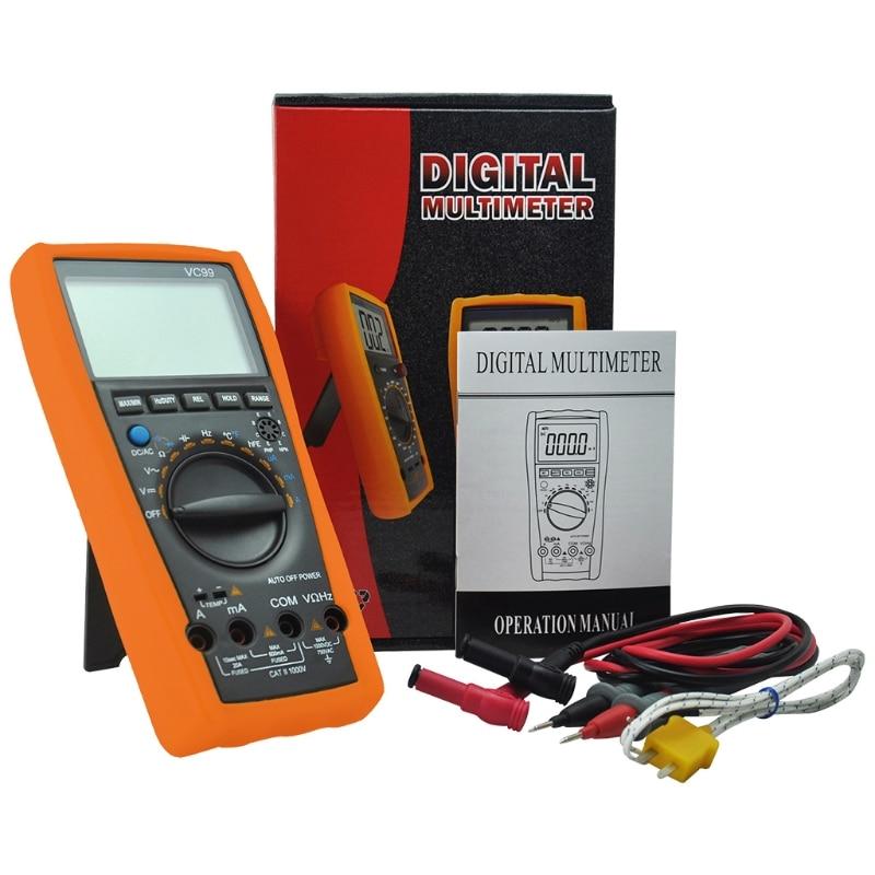 Verificador atual do diodo da tensão ca da c.c. do multímetro 1000v 20a de digitas da escala do automóvel vc99