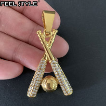 HIP Hop Chain Stainless Steel Baseball Bling Iced Out Gold Color Pendants & Necklaces for Men Jewelry Dropshipping