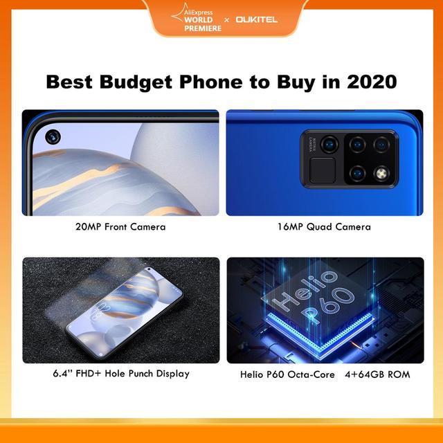 OUKITEL 4G C21 Smartphone Octa Core 4G+64GB 4000mAh Mobile Phone Selfie 6.4'' FHD+ Hole Punch Screen 20MP Quad Camera Phone 2