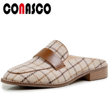 CONASCO New 2020 Women Sandals Fashion Concise Gingham Mules Low Heels Summer Slippers Casual Square Toe Flat With Shoes Woman