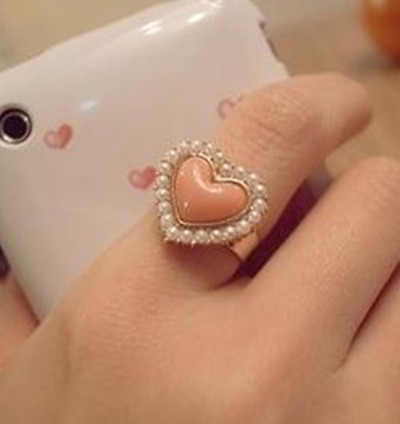 Women's Fashion OL Temperament Pearl Heart Pink Rings 8RD72