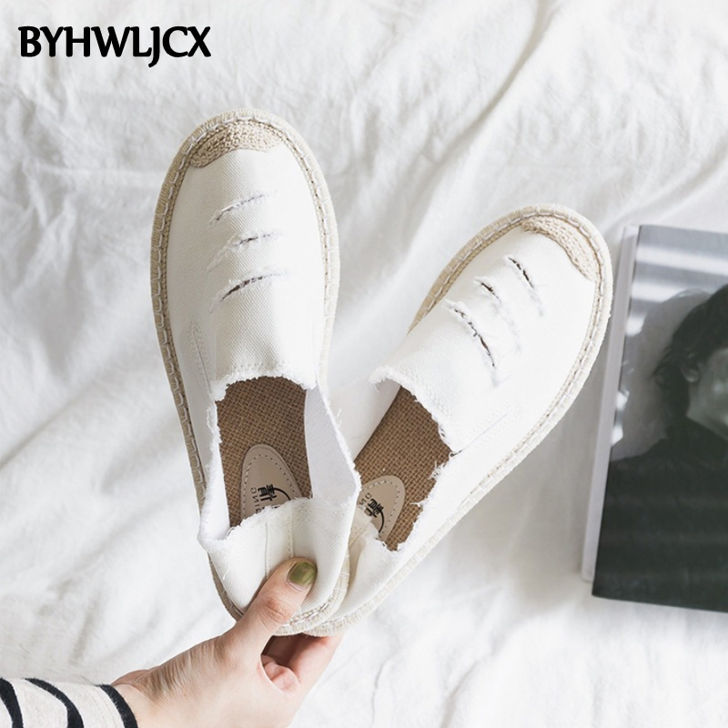 2019 New Women Flats Shoes Women's White Espadrilles Fashion Breathable Sneakers Quality Canvas Running Shoes Linen Casual Shoes