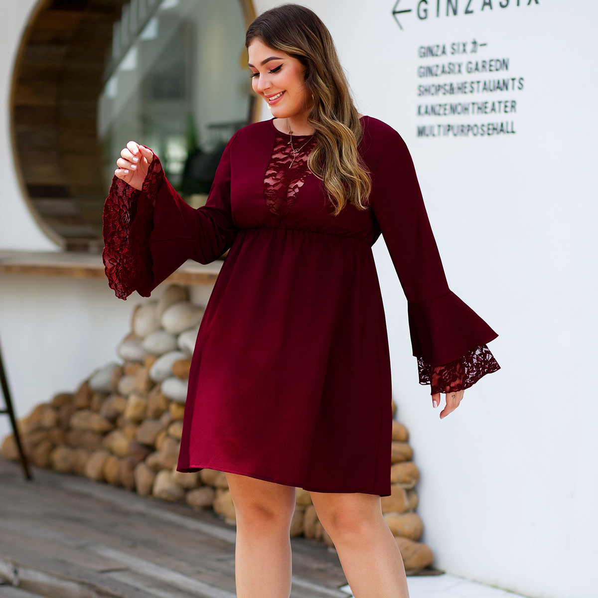 Elegant Burgundy Lace Cocktail Dresses A-Line Full Flare Sleeve See-Through Draped Short Formal Party Gowns Vestido Coctel 2020