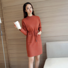 Autumn Winter Women Dress New Fashion Slim Long-sleeved Knitted Pullover Sweater Dress Half-height Collar Sweater Female DA229(China)