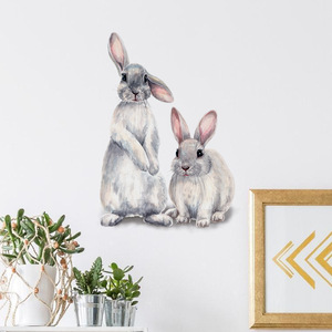 Image 5 - Two cute rabbits Wall sticker Childrens kids room home decoration removable wallpaper living room bedroom mural bunny stickers